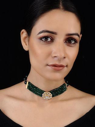 Green Gold Tone Kundan Inspired Onyx Choker Necklace