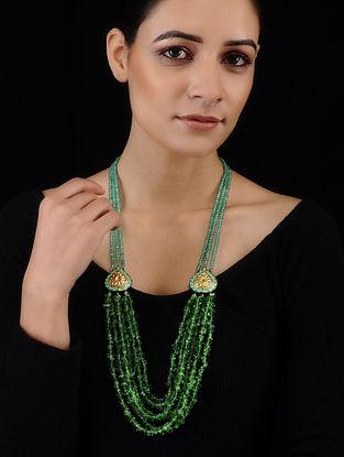 Green Gold Tone Jade and Meenakari Necklace