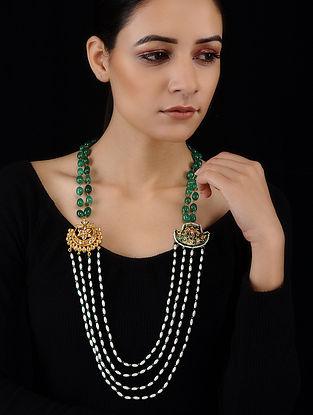 Green-White Gold Tone Meenakari and Kundan Inspired Necklace