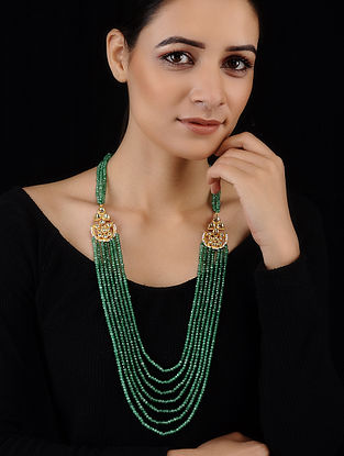 Green Gold Tone Jade and Polki Necklace