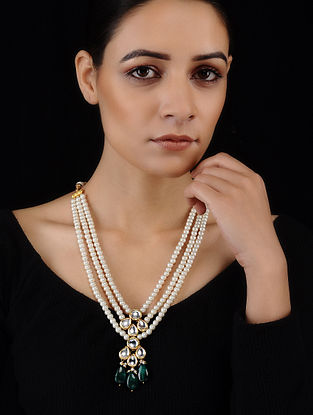 White-Green Gold Tone Kundan Inspired Pearl Necklace