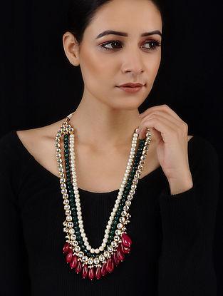 Multicolored Gold Tone Kundan Inspired Necklace