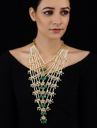 Green-White Gold Tone Kundan Inspired Pearl Necklace