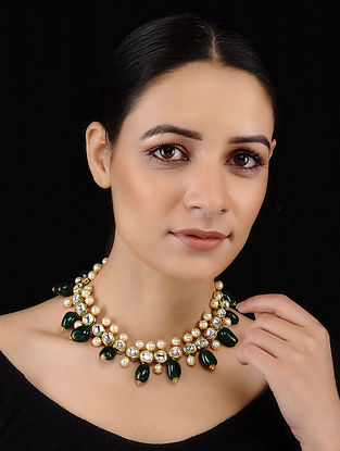 Green-White Gold Tone Kundan Inspired Necklace