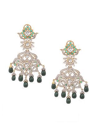 Green Gold Tone Chandbali Earrings