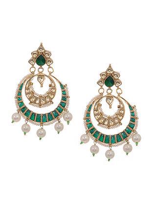 Green-White Gold Tone Kundan Inspired Chandbali Earrings