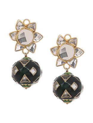 Green Gold Tone Meenakari Stud Earrings with Mirrors