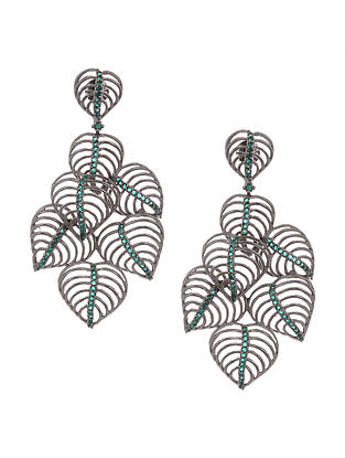 Green Silver Tone Studded Earrings