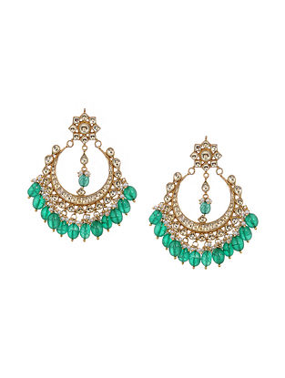 Green Gold Tone Kundan Inspired Chandbali Earrings