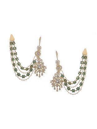 Green Gold Tone Victorian Polki Chandbali Earrings with Hair Chain