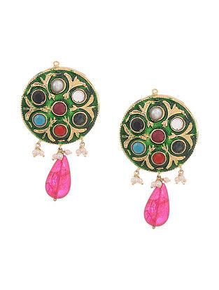 Green-Multicolored Gold Tone Meenakari Stud Earrings