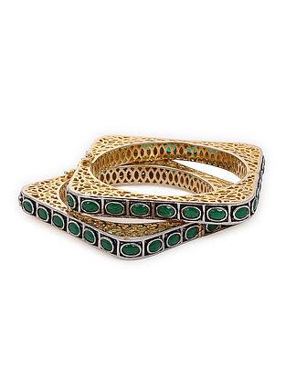 Green Gold Tone Victorian Polki Bangles