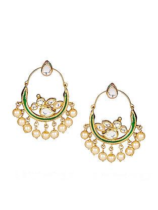 Green Gold Tone Kundan Inspired Meenakari Earrings
