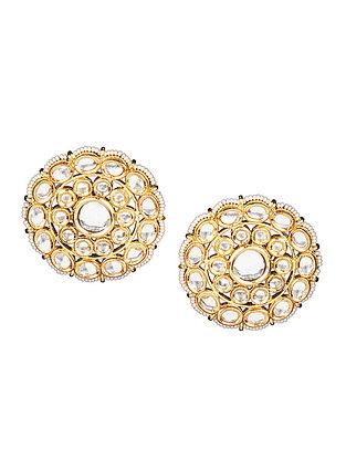 Gold Tone Kundan Inspired Floral Stud Earrings