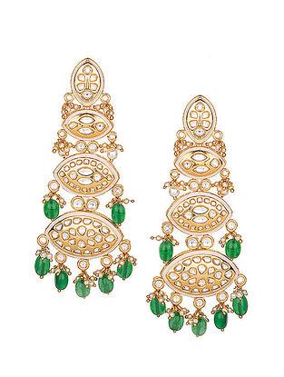 White-Green Gold Tone Kundan Inspired Earrings
