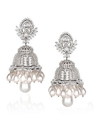 Silver tone Jhumka with Pearls