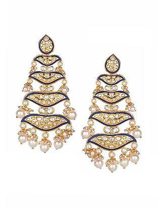 Blue Gold Tone Meenakari Kundan Inspired Earrings