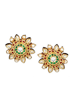 Red-Green Gold Tone Floral Kundan Inspired Stud Earrings