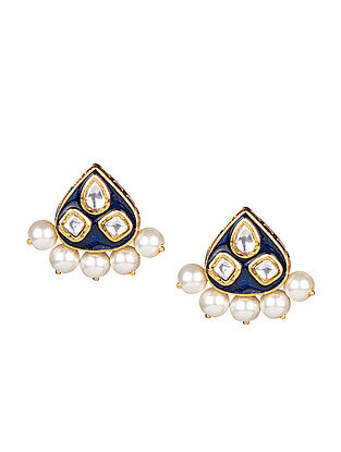 Blue Gold Tone Meenakari Kundan Inspired Stud Earrings