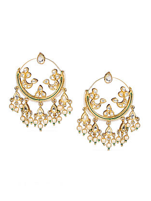Gold Tone Kundan Inspired Earrings with Pearls