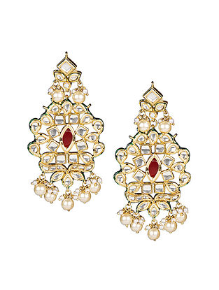 Red Gold Tone Kundan Inspired Earrings with Pearls