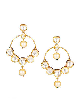 Gold Tone Polki Earrings with Pearls
