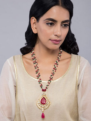 Red-Green Gold Tone Kundan Inspired Pendant Necklace