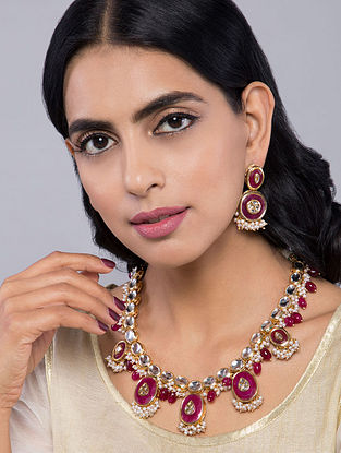 Red Gold Tone Kundan Inspired Necklace with Earrings(Set Of 2)
