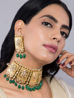 Green Gold Tone Kundan Inspired Choker Necklace with Earrings(Set of 2)
