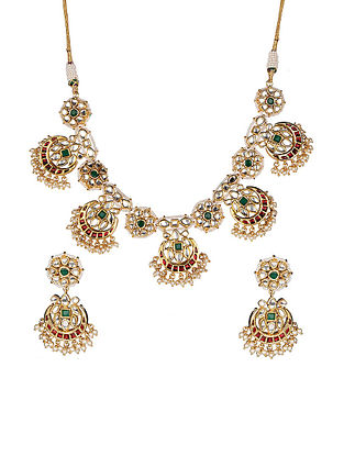 Multicolored Kundan Inspired Necklace with Earrings(Set of 2)