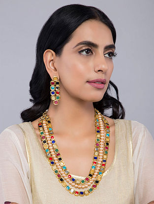 Multicolored Navrattan Kundan Inspired Pearls Necklace with Earrings(Set of 2)