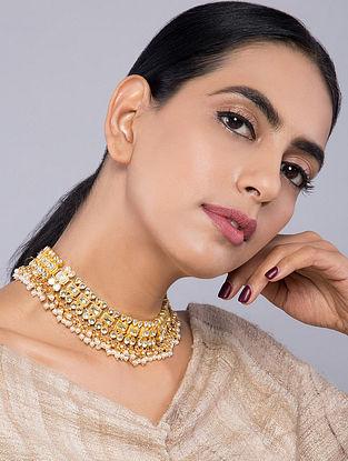 White Gold Tone Kundan Inspired Pearls Choker Necklace