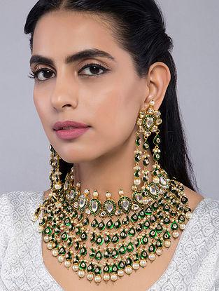 Green Gold Tone Meenakari Kundan Inspired Choker Necklace with Earrings(Set of 2)
