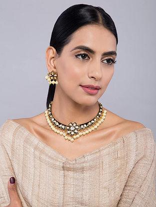 Black Gold Tone Meenakari Kundan Inspired Choker Necklace with Earrings(Set of 2)