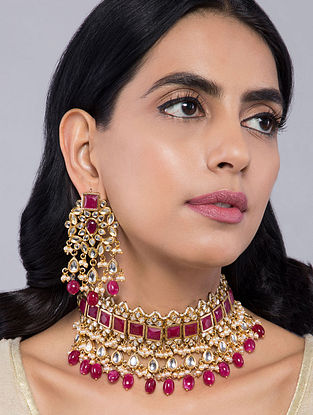Red Gold Tone Kundan Inspired Choker Necklace with Earrings(Set of 2)