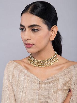 Gold Tone Kundan Inspired Choker Pearl Necklace