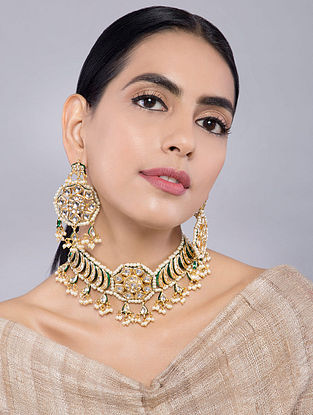 Gold Tone Kundan Inspired Choker Pearl Necklace with Earrings(Set of 2)