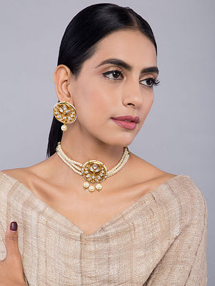 White Gold Tone Kundan Inspired Choker Pearl Necklace with Earrings(Set of 2)