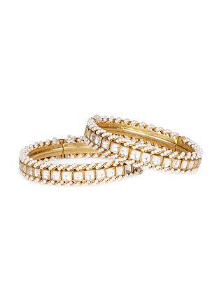 Gold Tone Kundan Inspired Pearl Bangles