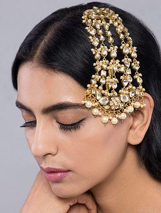 Gold Tone Kundan Inspired Pearl Passa