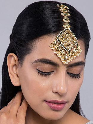 Gold Tone Kundan Inspired Pearl Mangtikka