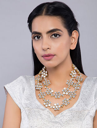 White Gold Tone Kundan Inspired Floral Necklace