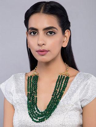 Green Gold Tone Kundan Inspired Onyx Necklace