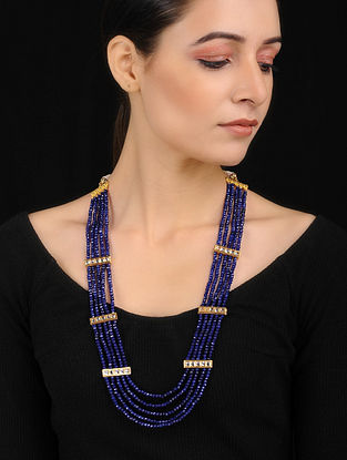 Blue Gold Tone Agate Necklace