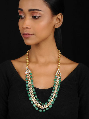 Green Gold Tone Onyx and Shell Pearls Necklace