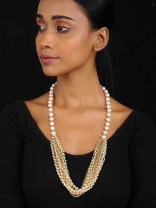 White-Gold Multistrand Necklace with Pearls