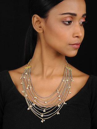 Dual Tone Pearl Embellished Necklace