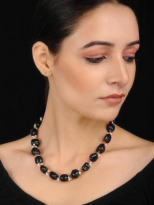 Black Gold Tone Onyx Necklace with Shell Pearls