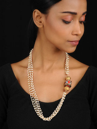 Gold Tone Navratan Necklace with Shell Pearls