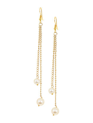 White Gold Tone Pearl Earrings